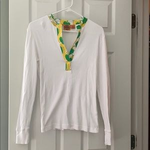 Tory Burch White Long Sleeve Ribbed Knit Tee